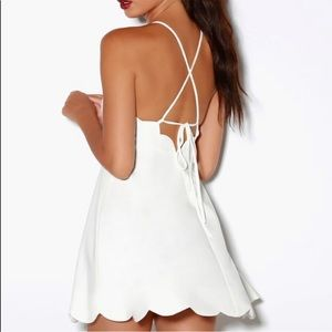 Lulus White Dress with Scallop details